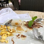 Get the dessert that had popcorn as part of it. I forget what it is called but as you can see...