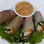 Thai Fresh Roll serve with classic Thai dressing salad Classical Thai cooking (Bangkok food) by chef Phant (Pon) Worakul.