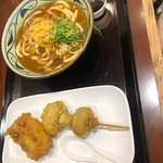 Curry udon and mushroom tempura
