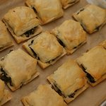 House-made filo dough covered spinach pie
