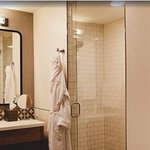 Luxury like bathrobes can be expected in our guestrooms