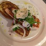 Salmon with corn cakes, shaved fennel-radish salad & dill-cucumber sauce, the buttermilk beets were left off per request