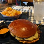 Burger w/swiss & side of tots. Don't forget the AC sauce.