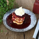 Ricotta Pancakes with Berry Compote & Maple Mascarpone