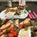 Mezze Madness sat outside next to the River Tavy