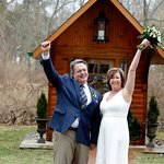 Happy to be married! The Little Log Wedding Chapel is everyone's special place.