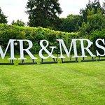 Mr & Mrs sign in the garden