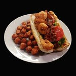 Spicy shrimp BLT with sweet tater tots.