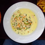 Fish chowder with warm crusty bread, excellent value for money.