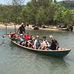Wilds of Cambodia boat ride after our bikes had already crossed
