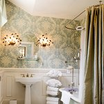 The bathroom of the Camellia Room, one of the guest rooms located in our Carriage House.