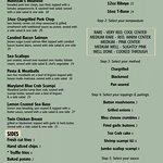 Back page of dinner menu. Dinner menu begins at 4pm.