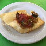 puffy, crispy flour tortilla chips with chunky salsa