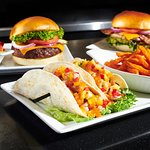 Burger, California Chicken Sandwich and Fish Tacos
