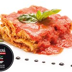 RED NEAPOLITAN LASAGNA: It's the original recipe from south Italy way to make Lasagna pasta. Red tomato souce, ricotta cheese, minced beef, parmigiano and basel leaves.