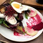 Beets, eggs, fresh cheese on toast with a beet spread - very yummy!
