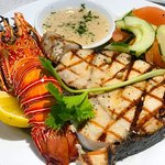 SIOSIO GRILL GRILLED WHOLE LOBSTER, GRILLED CATCH OF THE DAY, SERVE WITH SALAD , FRIES AND LEMON GARLIC BUTTER SAUCE