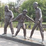 Leonid Gaidai Statues. These are his Comedy Trio. Goof on the left. Coward in the center. Skilled on the right.