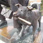 Leonid Gaidai Statues. This is the dog Barbos also known as Rex. In his mouth is a stick of dynamite.