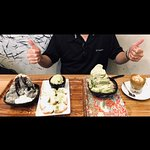 Black Sesame Shaved snow, Beignet with Green Tea Ice cream, Green Tea Shaved Snow and a cup of C