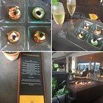 Menu, lounge area, and caviar/champagne at the Veuve Cliquot bar. Amazing!!