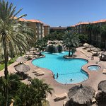 This panoramic photo is from the opposite end of the resort