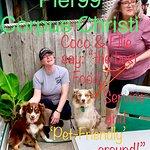 Pier99, Corpus Christi Beach, good seafood, pet-friendly, Dena (wait-staff), Mari (fur-mom), Coco and Ellie (Aussie girls).