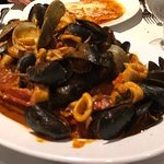 Lobster, mussels, clams, shrimp, calamari, and scungilli in a delicious red sauce.