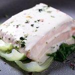 Лосось с кремом васаби ипакчой/ Salmon with wasabi cream and pakcha 1 390р