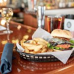 Our Portabella Burger with steak fries and added cheese (12.99)