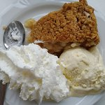 apple pie with ice cream and whipped cream