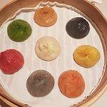 Panfried pork buns, Signature rainbow dumplings & sweet dumplings with black sesame filling & ground peanuts