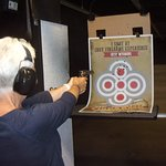 Shooting the revolver and rifle.