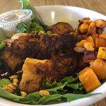 """Fishbowl"" w/choice of fish (Tilefish here), greens, lentil salad, roasted sweet potato, cashews & tahini sauce."