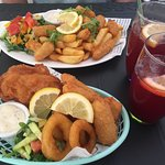 My husband always gets the scampi and chips and I always get the mixed fish basket. Both are del