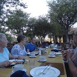My travel companions enjoying dinner at Damara Mopane Lodge