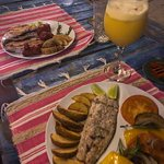 Grilled meat plate (left) and fish of the day