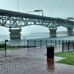 The York River Bridge in the rain.