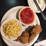 Fried Chicken, Stewed Tomato and Mac & Cheese