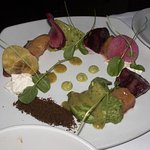 Roasted Beets - burrata cheese, watercress, watermelon radish, avocado,edible dirt, Meyer lemon