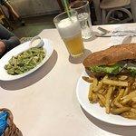 Chicken sandwich and pasta