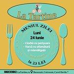 🍴 Vă așteptăm #LaTartine #Cotroceni cu #MeniulZilei (#Luni, 24 #Iunie) la 23 lei: - Ciorbă cu perișoare - Varză cu afumătură și mămăliguță * în limita stocului disponibil  P.S. Nu ratați cele mai delicioase #tartine si #FructeDeMare #LaTartineCotroceni #Bucuresti