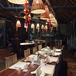 The dining area at Karawari Lodge, all set up for dinner.
