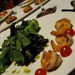 Grilled arugula and shrimp