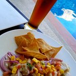 Ceviche and a cold one on our terraza