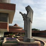 Statue outside Frank Lloyd Wright's SC Johnson Research Tower.