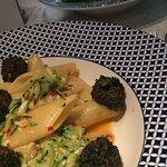 Penne Giardiniera, spinach balls,