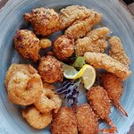 conch fritters, fish, and shrimp platter.
