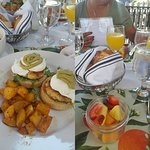 Crab cake Benedict on left, fruit cup and pastries on right