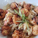 House Made Seaweed Noodles with Scallop and Crab Alfredo